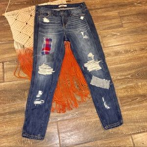 Hollister Co. Distressed Patched Boyfriend Jeans